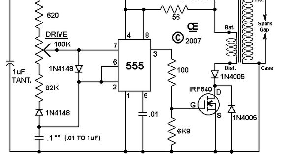 HV Ignition Coil Driver using 555 schematic Ham Radio