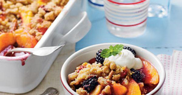 Blackberry Peach Cobbler with Praline Pecan Streusel Recipe