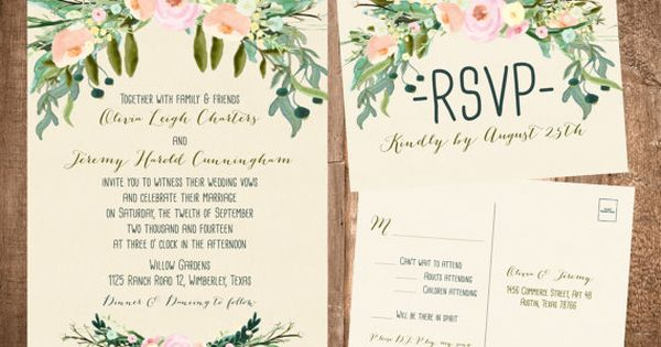 Planning a spring wedding? These romantic bohemian style invitations, printed on our