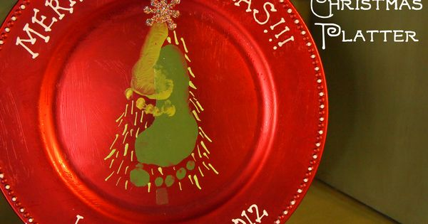 Christmas Footprint tree Platter