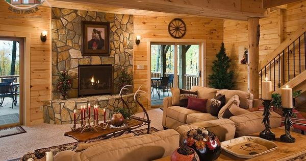 Gas Fireplace Carpeted Walk Out Basement With Rustic Pine Tongue And Groove Walls And Ceilin Cabin Living Room Country Living Room Design Country Living Room