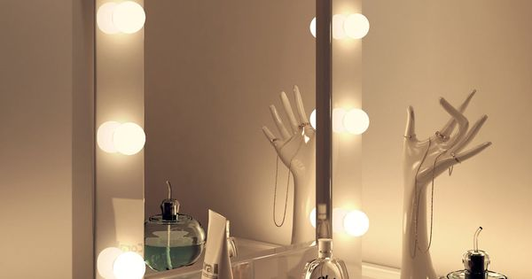 miroir loge maquillage hollywood blanc tr s brillant k113 ebay cabinet pinterest. Black Bedroom Furniture Sets. Home Design Ideas