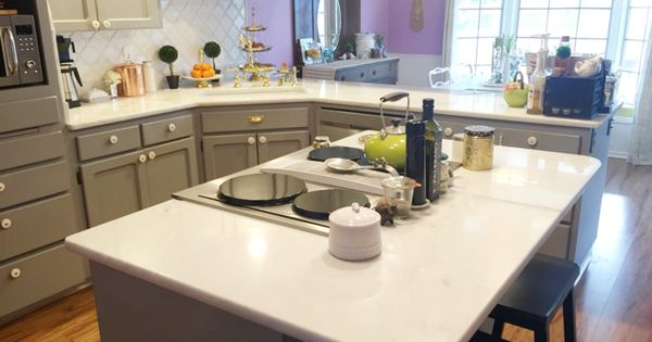 Grey kitchen cabinets marble counters white arabesque beveled tile