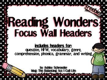 Reading Wonders Focus Wall Headers Reading Wonders Focus Wall Word Cards
