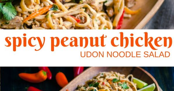 Udon noodles, Peanut chicken and Noodle salads on Pinterest