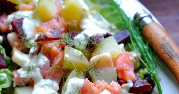 salade su doise pommes de terre saumon fum morceaux de betterave etc pas de salades. Black Bedroom Furniture Sets. Home Design Ideas
