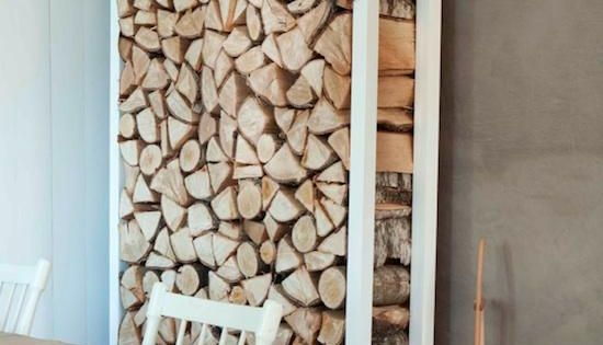 Stacked wood. Great idea for a house with a woodburning fireplace. I'll