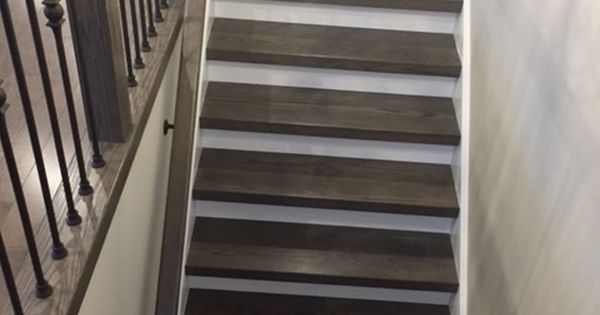 Grey Brown Tones On Staircase With White Risers And