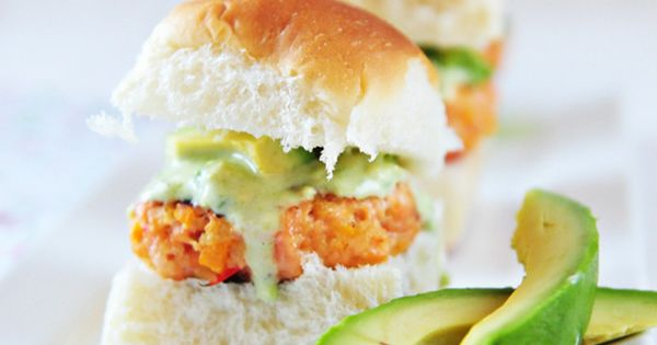 Salmon Sliders with Avocado Sauce by dineanddish Salmon Avocado Sliders health food