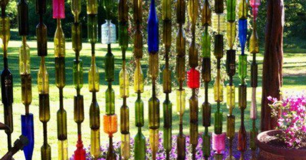 Sun catcher wall of wine bottles awesome backyard Sun garden riesling