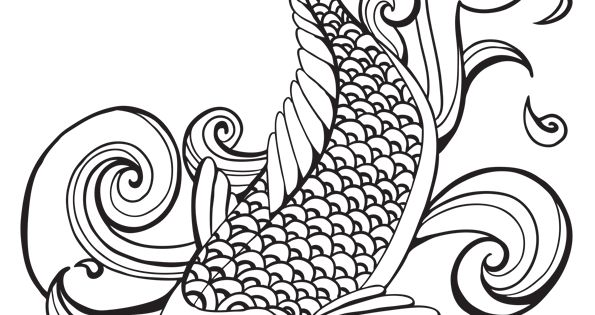 coloriage poisson carpe koi eau sur stencils coloring. Black Bedroom Furniture Sets. Home Design Ideas