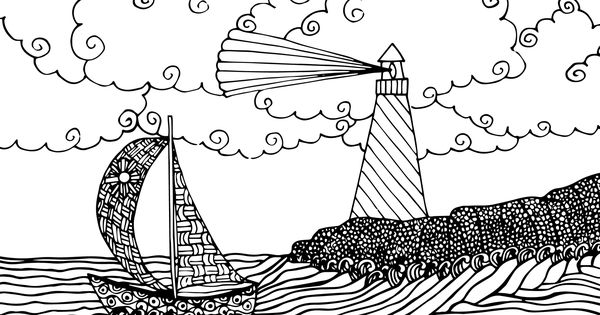 FREE seascape coloring page for