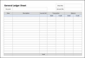 General Ledger Sheet Template General Ledger Bookkeeping