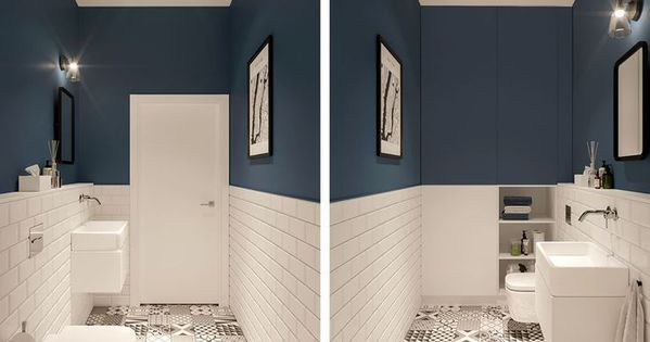 Stylish Bathroom With Patterned Floor Traditional Tiles And A Navy Blue Accent Designed By Eg Projekt Guest Stylish Bathroom Bathroom Interior