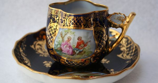 Antique Dresden Germany Miniature Hand Painted Cup