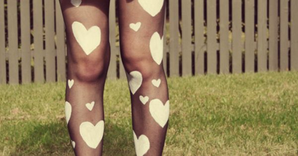 Diy Heart Print Tights. This would be good for a queen of