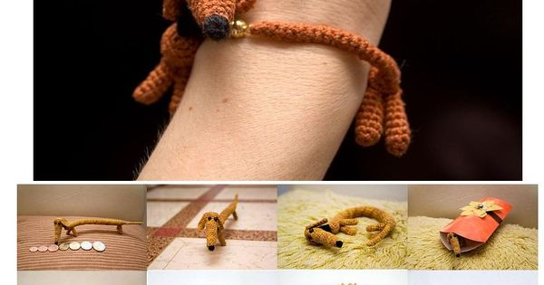 Weiner dog crochet bracelet tutorial (Russian - someone needs to translate this