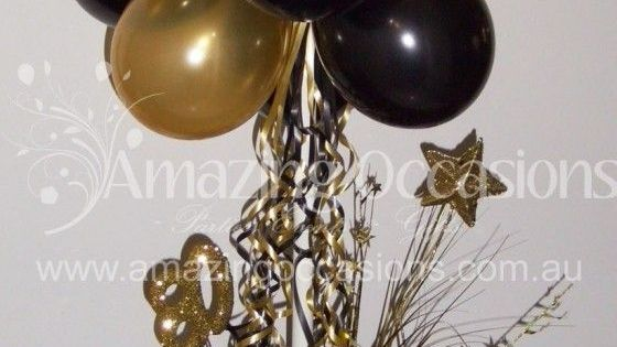 Black Gold Balloon Centerpiece : Black and gold balloon centerpiece bing images henni