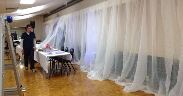 For weddings: This wall is being covered in tobacco cloth ...