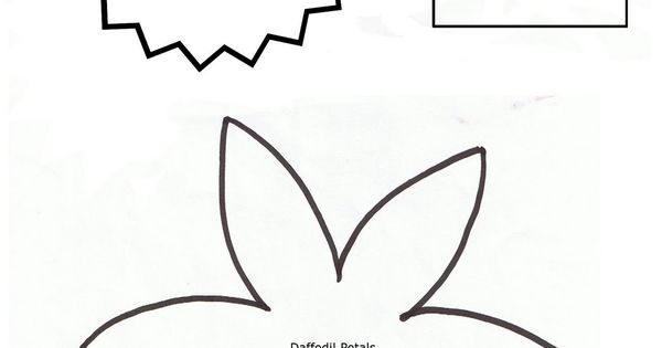 6 images of daffodil template printable pattern craft for Template of a daffodil