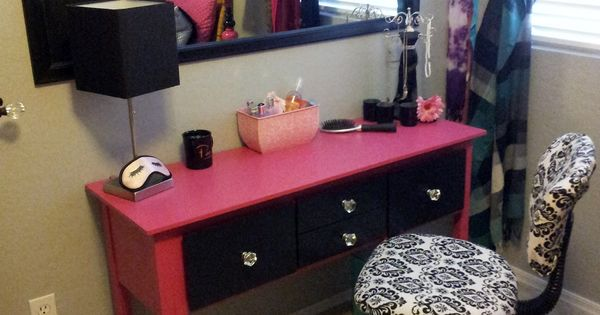 Long mirror and side table for vanity