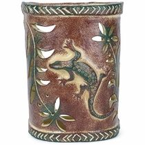 Gecko Lizard Southwest Painted Clay Wall Sconce Clay Wall