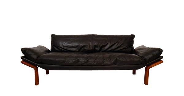 Black leather sofa komfort danish design sofa made in denmark randers m belfabrik 70s danish - Designer couch modelle komfort ...