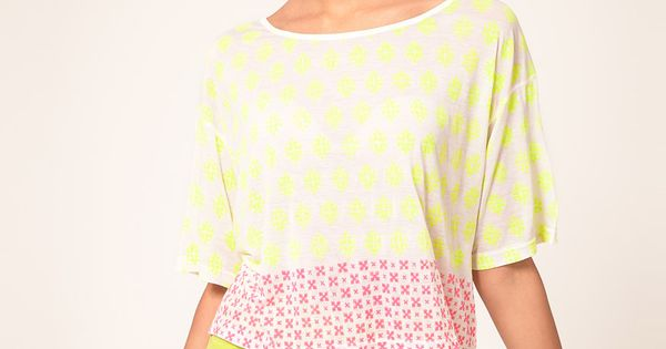 Heti's Colors Neon Hand Block Printed Crop Tee- Dress to impress when