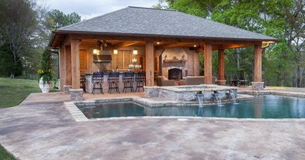 Rustic pool house in mississippi pool house ideas for Pool house guest house plans