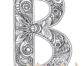 Coloring Pages Etsy Alphabet Buchstaben Alphabet Malvorlagen Zentangle Muster