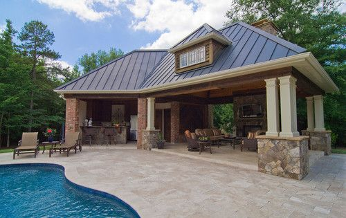 Pool houses and cabanas design pictures remodel decor for Pool house plans with bathroom
