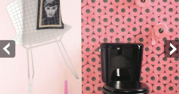 D co toilette id e et tendance pour des wc zen ou pop toilet wall decorations and walls - Deco hangend toilet idee ...