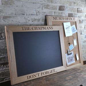Personalised Cork Or Chalk Notice Board Kitchen Personalized