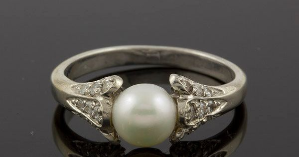 Antique Diamonds and Pearl Engagement Ring in 14k White Gold. THIS IS