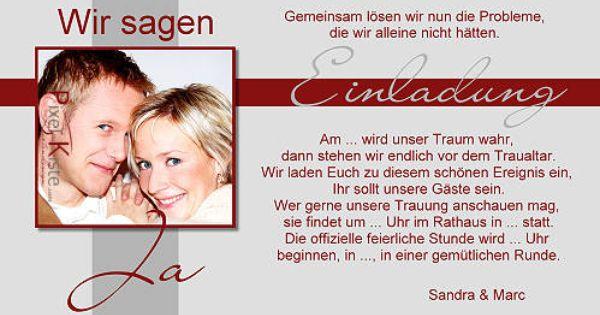 Einladung Hochzeit Text  hochzeit  Pinterest  Hochzeit and Texts