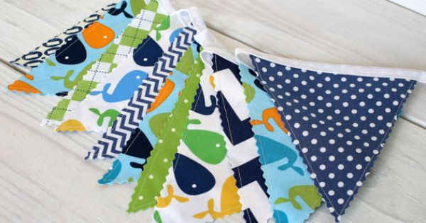 Bunting fabric banner fabric flags nautical nursery for Nautical nursery fabric