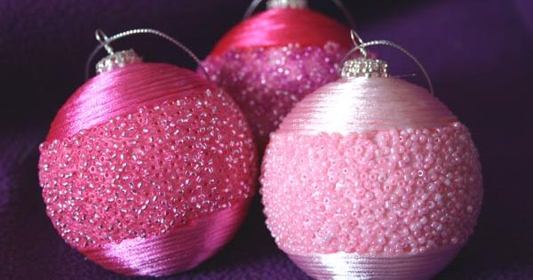 DIY ornaments: seed beads and satin cord