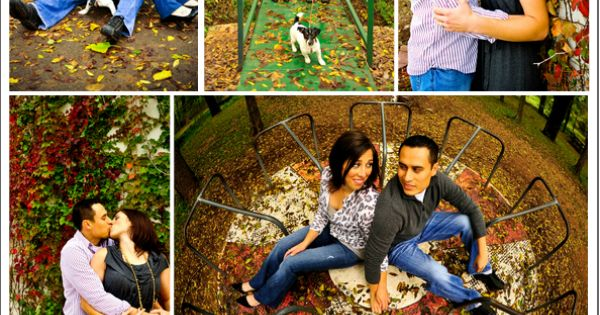 Outdoor Engagement Shoot- autumn leaves and playground ...