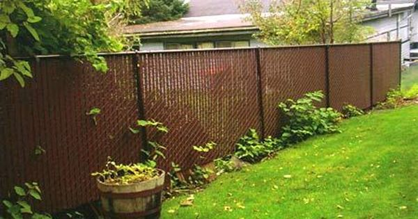 Chain Link With Brown Privacy Slats For Side Of Backyard