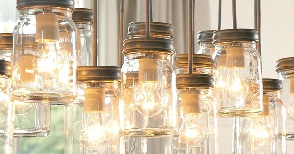 I love this idea of using old ball jar glasses as pendants.