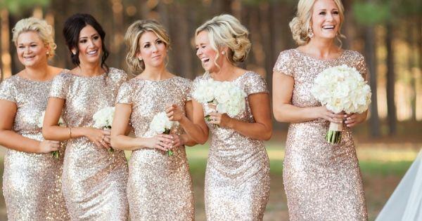 Glittery Bridesmaids | Gold Dresses | Sequins | Archetype Studio Inc ,sequin
