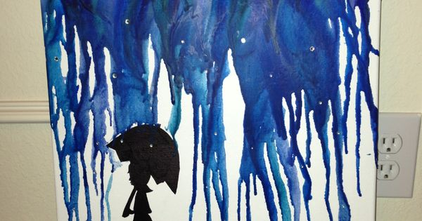 16 Quot X 20 Quot Melted Crayon Art Blue Crayons For Rain