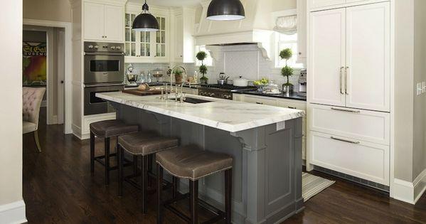 Gray Island White Cabinets Home Decor Ideas