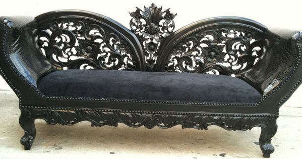 Black on black wooded frame french chaise lounge sofa for Vintage parisian lounge