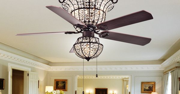 Charla 4 Light Crystal 52 Inch Chandelier Ceiling Fan By