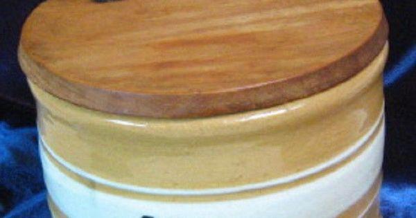 Antique Yellowware Salt Crock Cellar White Bands W Wood