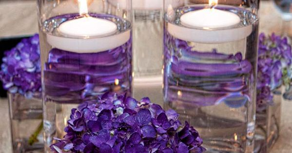 wedding decoration candles purple hydrangea flowers and candles for wedding reception 9028