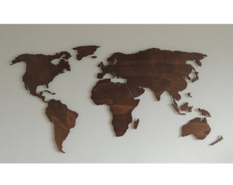 Xl Magnetic Wooden 3d World Map Floating On The Wall Weltkarte