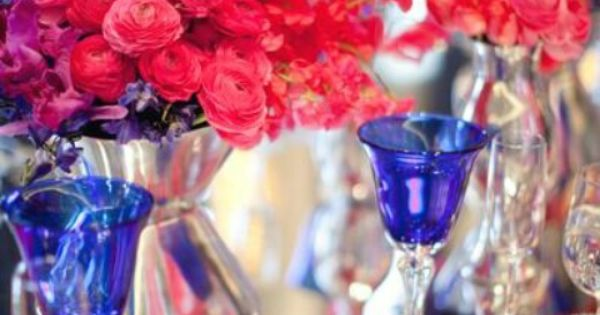 Royal Blue amp Fushia Table Setting Wedding Pinterest