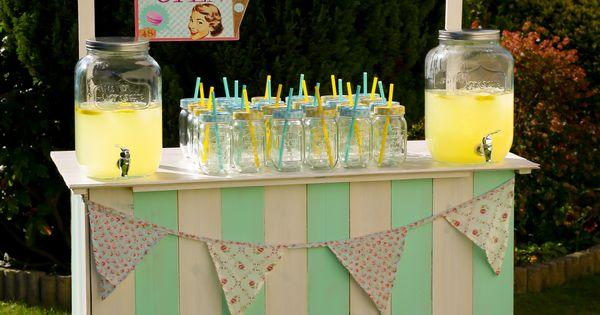 bar à limonade - mason jar vichy à louer sur www.mariage-vintage.fr ...